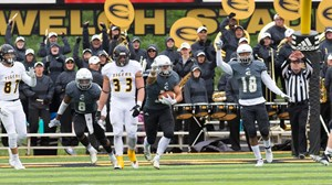 cd8c9827200e84 ... EMPORIA STATE FOOTBALL COACHING STAFF. 2018 ESU Football vs Fort Hays -  October 6, 2018 Jace McDown INT